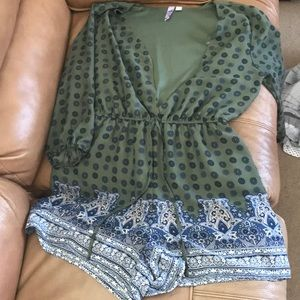 Army Green and blue medallion print romper